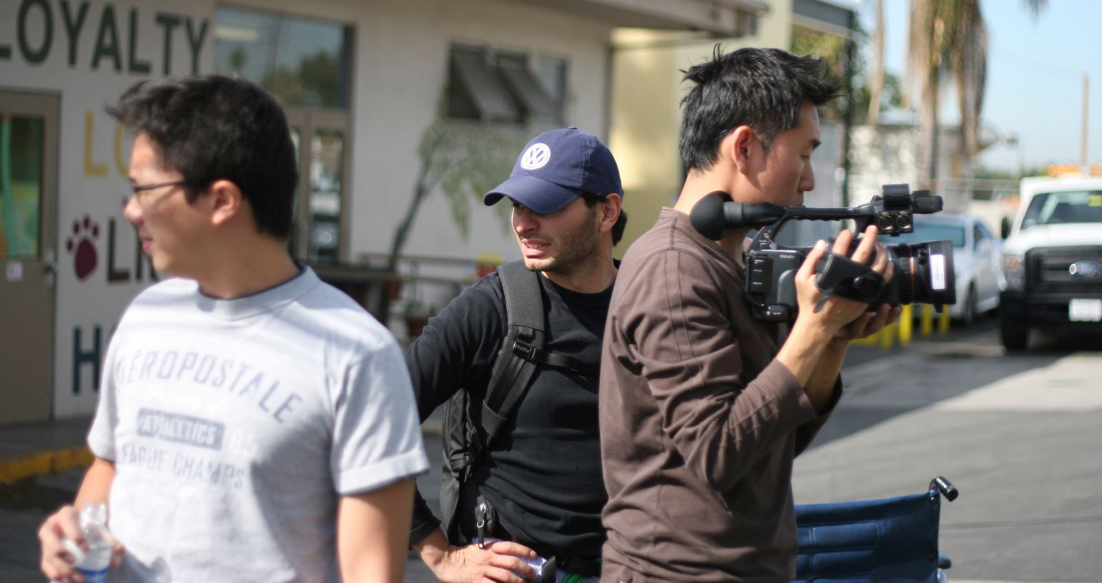 David Aristizabal, center, with crew members while filming A Second Chance