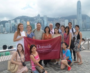 USC Dornsife students pose for a picture at Victoria Harbour in Hong Kong. (Photo/Ana Lee)