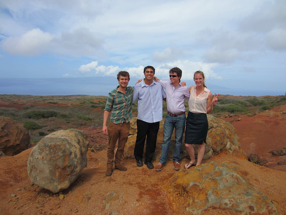 USC Viterbi students Kevin Cornelis, Lake Casco, Ruben Van Caelenberg and Caitlin Ahearn assisted on a sustainability project in Hawaii.