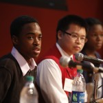 High school panelists Darren Harris, Philbert Mach and Chisom Onyea talk about researching stem cells at USC. (Photo/Steve Cohn)