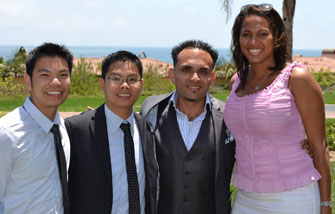 Neighborhood Academic Initiative alumni David Tran, Quy Tran, Javier Ramirez and Samika Ramirez (Photo/Karen Ammons)