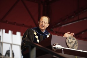 """If you feel very special that you are here today, it's because you are. And you deserve it,"" said President Nikias to the incoming class. (USC Photo/Steve Cohn)"