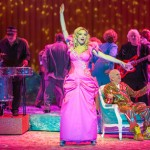 Sarah Joy Miller plays the title role in the New York City Opera production of Anna Nicole, with support from Peter Erskine on the drums at left. (Photo/Stephanie Berger)