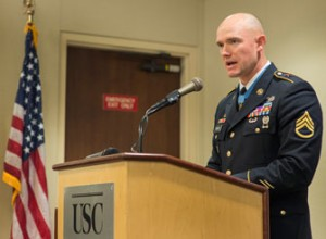Carter talks about post-traumatic stress at an event sponsored by the USC Center on Innovation and Research on Veterans & Military Families. (Photo/Andrew Taylor)