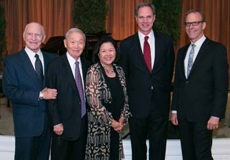 USC Price Dean Jack H. Knott, second from right, with honorees Michael Keston, Yoshi Honkawa, Irene Hirano Inouye and Kirby Dick (USC Photo/Tom Queally)