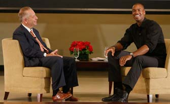 Keck School of Medicine Dean Carmen A. Puliafito interviews Jason Collins on his coming out as an openly gay athlete. (USC Photo/Steve Cohn)