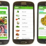 Three sample screens from the Quick! Help app, which generates recipe books customized for each family, as well as tips about food and nutrition.
