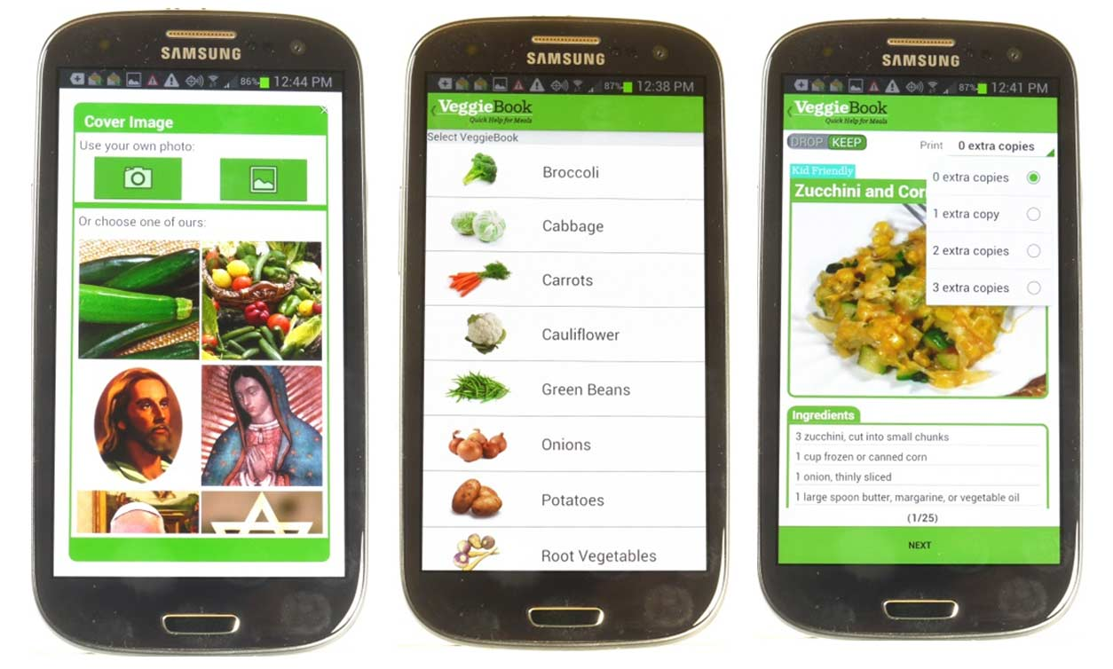 Usc researchers put food smarts into phones usc news three sample screens from the quick help app which generates recipe books customized for each family as well as tips about food and nutrition forumfinder Gallery