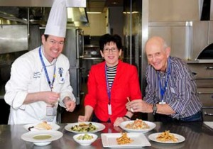 USC researchers Susan Evans and Peter Clark, right, with Executive Chef Lachlan Sands at Le Cordon Bleu