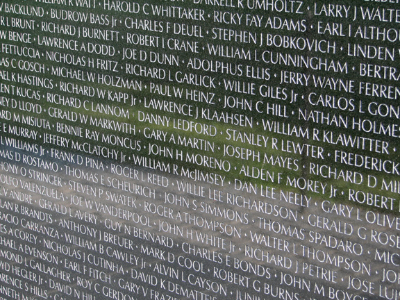 Names on Vietnam Veterans Memorial