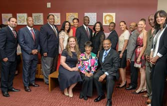 Members of the BAA board along with staff and supporters (from left, rear): Daniel Atwater, Keenan Adamson, William Holland, Donna Gholar, Julia Cooksey, Lloyd McKinney, Stephanie Farmer, Raphael Henderson, Debbie Pattillo, Donovan Green, Kathryn Shirley, Simeon Stewart and BAA Assistant Director Patrice Theard. Seated from left: Michèle Turner, Verna Dauterive and California Assembly member Reginald Byron Jones-Sawyer (Photo/Leroy Hamilton)