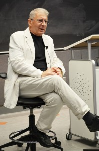 Polish director Ryszard Bugajski discusses his controversial film at a USC Dornsife class. (USC Photo/Erica Christianson)