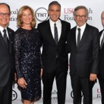 USC President C. L. Max Nikias, Niki C. Nikias, George Clooney, Steven Spielberg and Stephen Smith at the USC Shoah Foundation's annual gala (Photo/Larry Busacca, Getty Images)