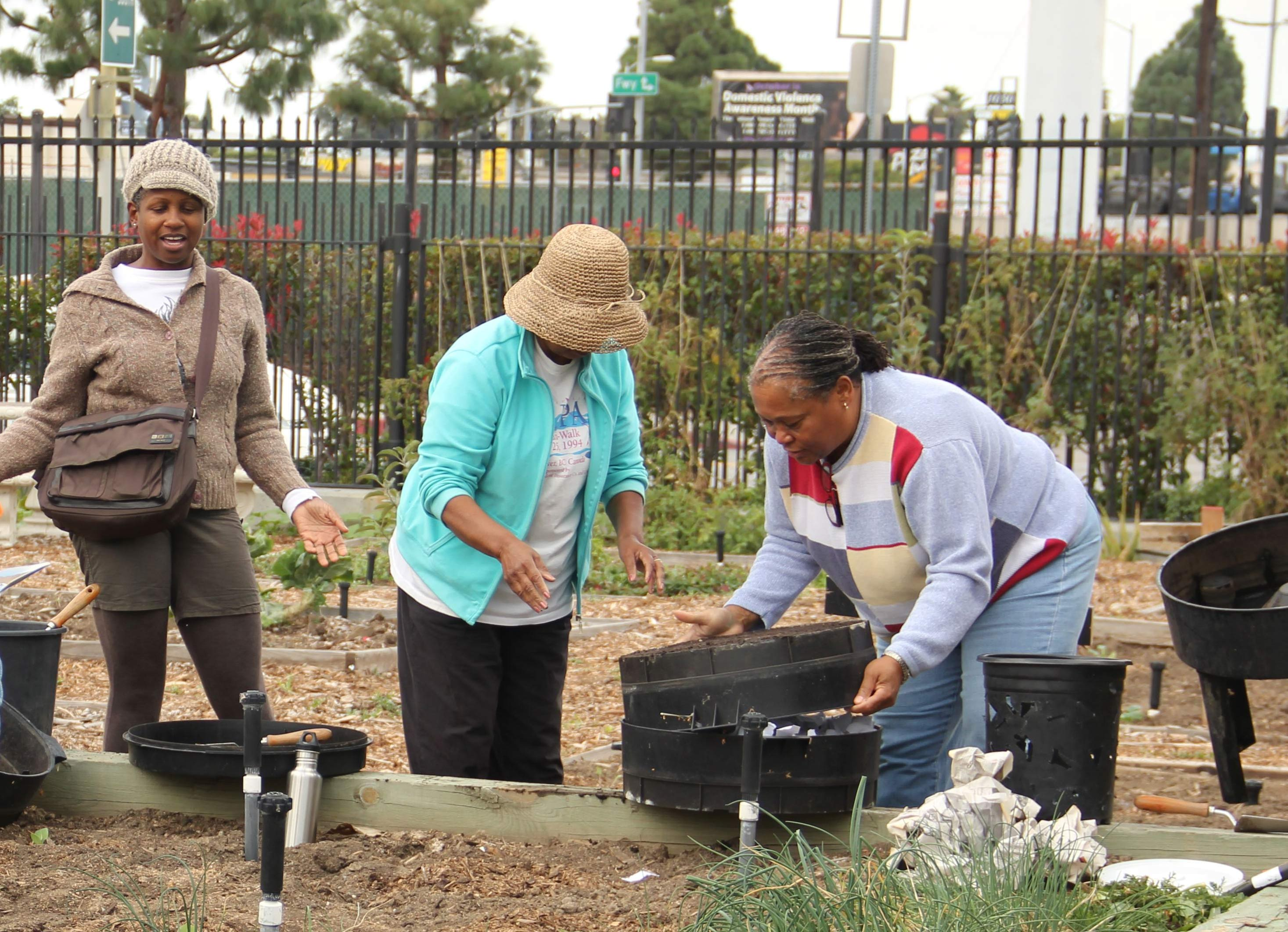 As part of the the Garden Gateway Nutrition Program, residents of South Los Angeles prepare edible gardens at a local community garden. (Photo/Zhiyi Feng)