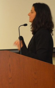 Sarah Gualtieri addresses the audience at Doheny Memorial Library.  (USC Photo/Erica Christianson)