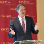 "Dean Jack H. Knott speaks at the ""Conversations in D.C."" event. (USC Photo/Edward Graham)"