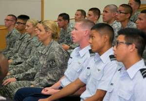 Members of the USC Veterans Association listen to a talk given by Petraeus. (USC Photo/Tom Queally)