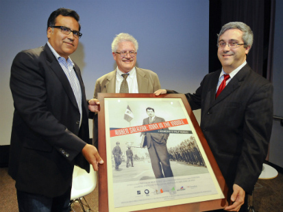 Filmmaker Phillip Rodriguez, USC Dornsife Professor George Sanchez and Thomas Saenz, president of the Mexican American Legal Defense and Educational Fund (USC Photo/Gus Ruelas)