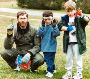Silverman, right, at age 5, doing model rocketry with his father and brother (Photo/courtesy of Sharon Silverman)
