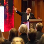 University Professor delivered the inaugural George Washington Leadership Lecture at the Fred W. Smith National Library in Virginia. (USC Photo/Edward Graham)
