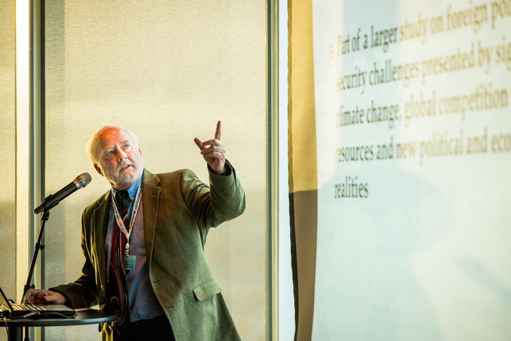 USC Dornsife's Steven Lamy presents his research on the political and military repercussions of dealing with complex issues of sovereignty and governance in the Arctic. (Photo/courtesy of AlaskaDispatch.com)