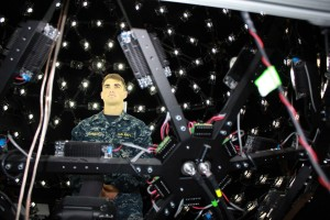 A sailor from the USS Benfold sits in ICT's Light Stage