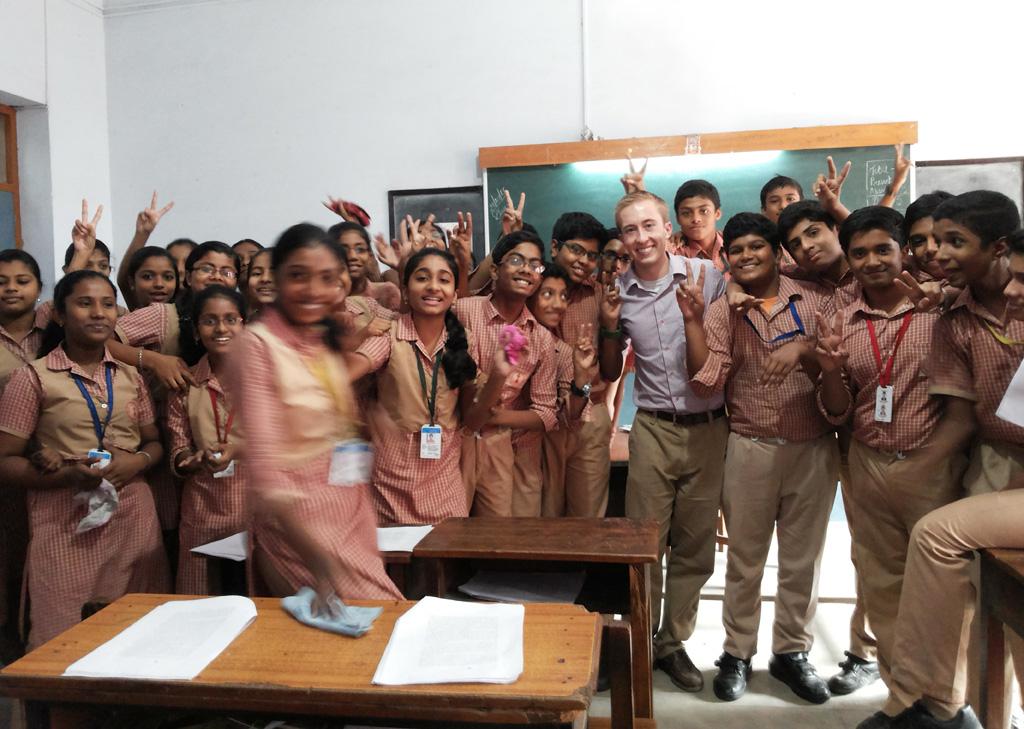Fulbright fellow Travis Glynn is currently working in India as an English teaching assistant.