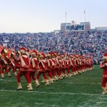 The USC Trojan Marching Band strides onto the field at Notre Dame Stadium in 1973. (Photo/Trojan Marching Band Archives)