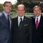Mayor Eric Garcetti, USC President C. L. Max Nikias and retired Gen. David Petraeus (USC Photo/Tom Queally)