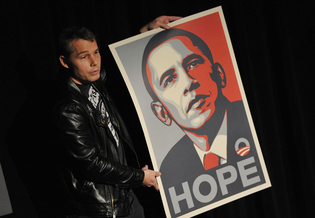 Street artist Shepard Fairey presents a sample of his work to USC students for the series Stand In. (Photo/courtesy of mtvU)