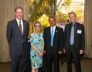 USC Price Dean Jack H. Knott, Metrans Director Genevieve Giuliano, Jeet Joshee of California State University, Long Beach, and Henrik Nolmark from the Volvo Research and Educational Foundations (USC Photo/Tom Queally)