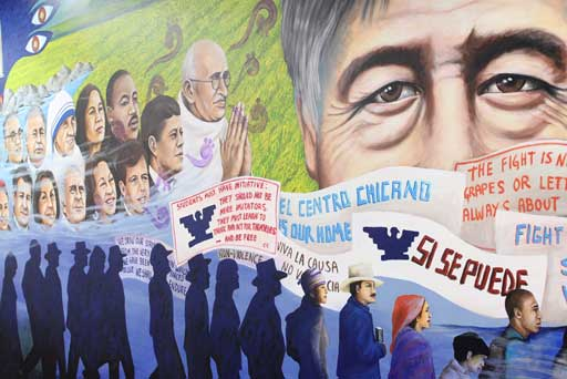 A mural of civil rights leader Cesar Chavez was recreated for the new El Centro Chicano offices in the Student Union. (USC Photo/Eddie North-Hager)
