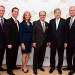 From left, Lew Horne, LAEDC chair; Bret Johnson, chief financial officer of Space X; Niki C. Nikias; USC President C. L. Nikias; USC Trustee Y.H. Cho; and Bill Allen, LAEDC president (Photo/Rich Schmitt)