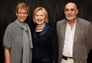 USC Provost Elizabeth Garrett, Hillary Clinton and USC Professor Andrei Marmor (USC Photo/Steve Cohn)