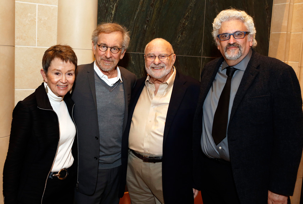 Dean Elizabeth Daley, Steven Spielberg, film editor Michael Kahn and USC Professor Norman Hollyn, the first holder of the Michael Kahn Endowed Chair in Editing at the USC School of Cinematic Arts (USC Photo/Steve Cohn)