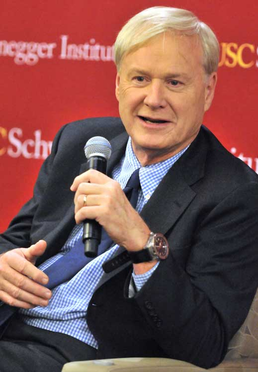 Political commentator Chris Matthews talks about his new book at Doheny Memorial Library. (USC Photo/Ron Murray)
