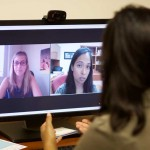 The innovative USC Telehealth clinic helps clients via video conferences. (USC Photo/Brian Goodman)