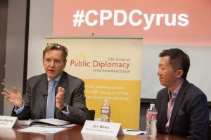 Getty Museum Director Timothy Potts speaks to  Jay Wang, director of the USC Center on Public Diplomacy. (Photo/Brett Van Ort)