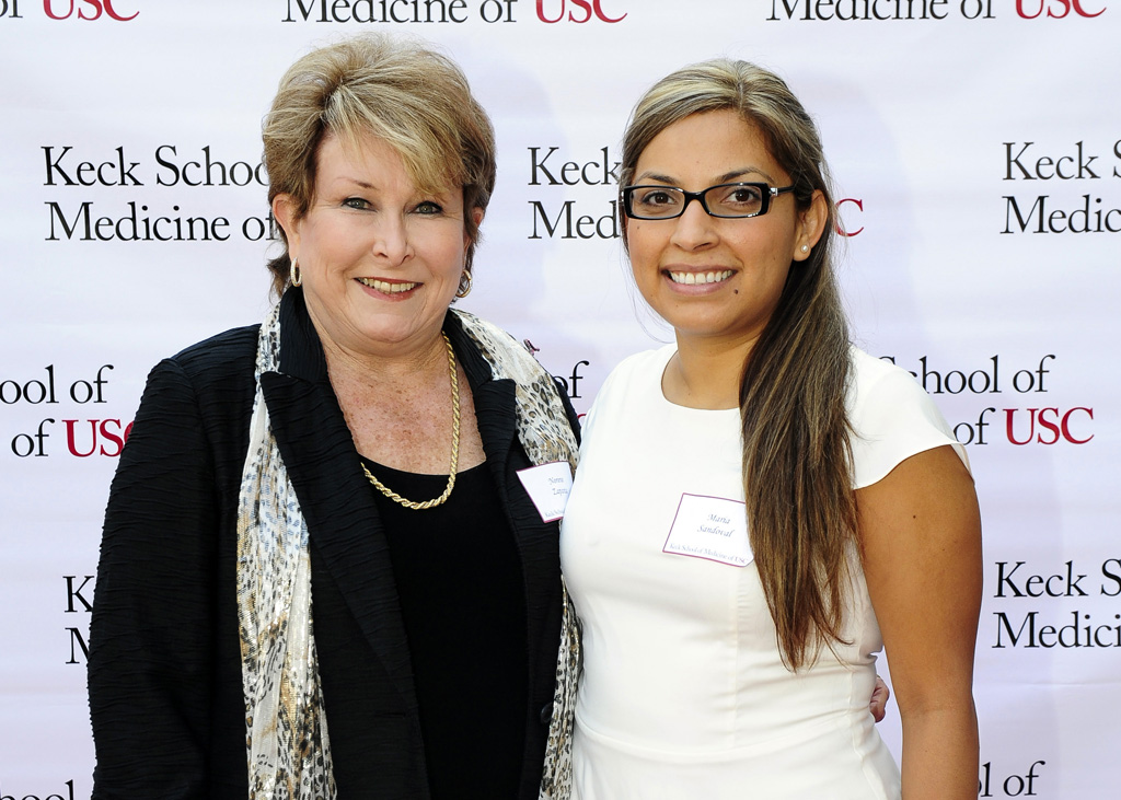 Donor Norene Zapanta with Maria Sandoval, recipient of a Keck School scholarship named in honor of Zapanta's late husband (USC Photo/Gus Ruelas)