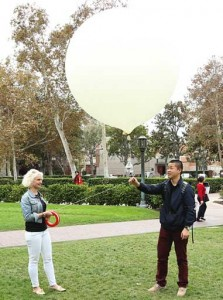 Sarah Ellis and Haijing Lin launch a weather balloon