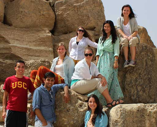 The Dornsife Undergraduate Fellows Fund provides selected students in USC Dornsife with grants that can be used for international travel and field research. USC Dornsife undergraduates visit the Great Pyramid of Giza in Cairo above. (Photo/Steve Weier)