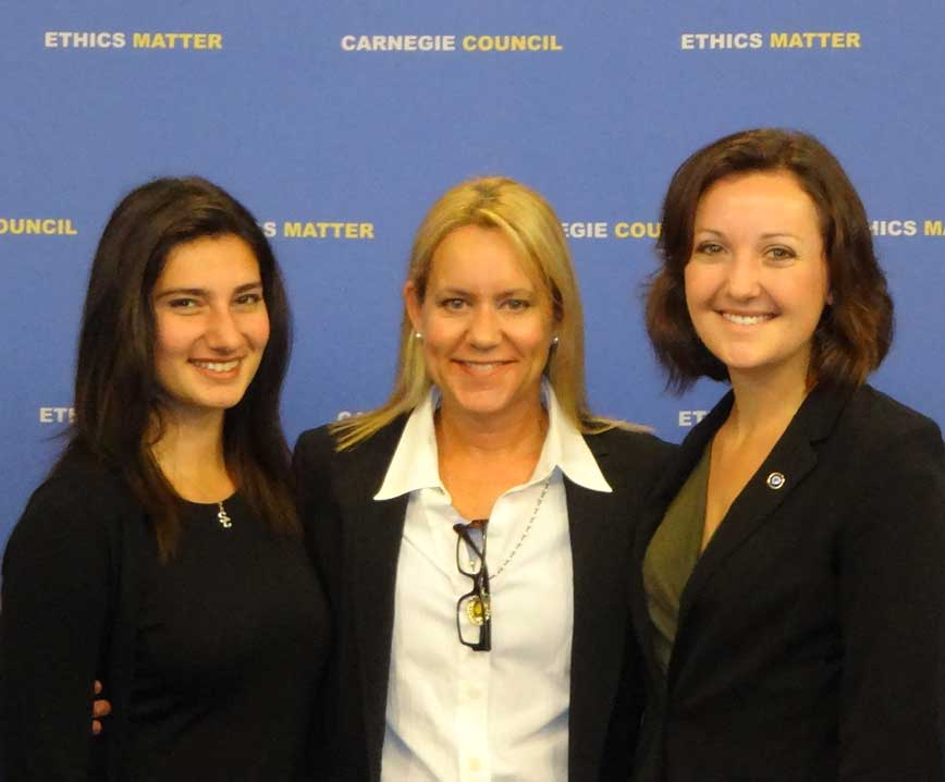 Marissa Roy, Lyn Boyd-Judson and Amanda Schmitt at the third tnnual Global Ethics Fellows Conference