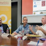 Daniel Durbin, Alan Abrahamson and Derek Shearer discuss the Winter Olympics at this month's Journalism Forum. (USC Photo/Brett Van Ort)