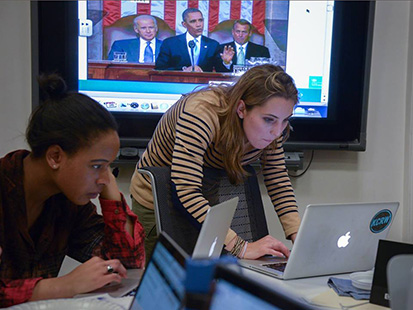 USC Annenberg reporters cover the presidential address, striving to provide engaging content for their  audience. (Photo/courtesy of USC Annenberg)