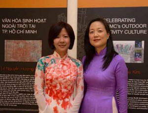 USC Price Associate Professor Annette Kim and local partner, architect Lê Nguyễn Hương Giang, at the exhibition opening reception (Photo/Hoàng Thạch Vân)