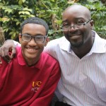 Principal Macaulay with Hybrid High student (USC Photo/Kathy Christie)
