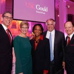 Dean Robert K. Rasmussen, USC Provost Elizabeth Garrett, alum and Los Angeles County District Attorney Jackie Lacey, alum Ken Doran and USC President C. L. Max Nikias at the historic Vibiana in downtown L.A. (USC Photo/Steve Cohn)