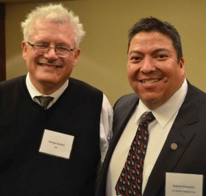 George Sanchez, left, with SACNAS President-elect Gabriel Montaño (USC Photo/Erica Christianson)