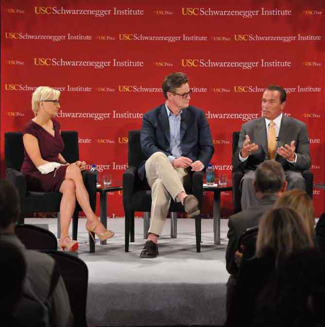 Mika Brzezinski, Joe Scarborough, and Arnold Schwarzenegger