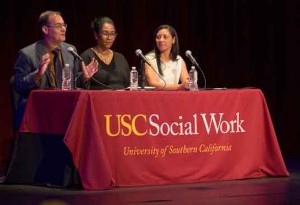 Carl Castro, Kim Finney and Kristen Kavanaugh participate on an All School Day panel. (USC Photo/Andrew Taylor)